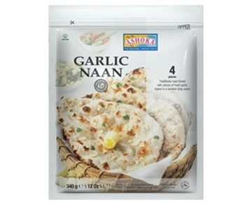 Ashoka Garlic Naan 340g (4 Pieces) (Frozen)
