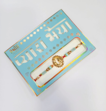 Shree Pyare Bhaiya Fancy Aum Rakhi in Light Blue