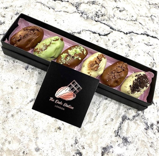 Premium Quality Medjool Date Stuffed and Coated with Different Chocolate Flavours (Black)