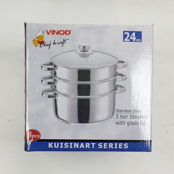 Vinod Stainless Steel 3 tier Steamer with Glass Lid 24cm