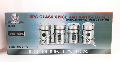 Cookinex Spice Jars Canister Set 4 pcs Glass
